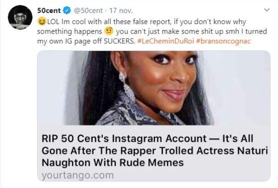 People : 50 Cent affirme avoir désactivé lui-même son compte Instagram