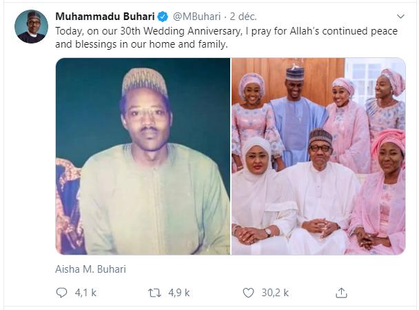 People : Le tendre message de Muhammadu Buhari à sa femme pour leurs noces de perle