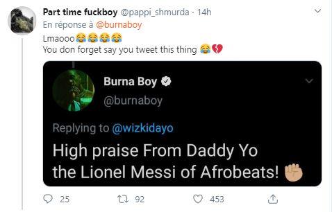 """Burna Boy taclé par les internautes pour s'être autoproclamé """"Le meilleur"""""""