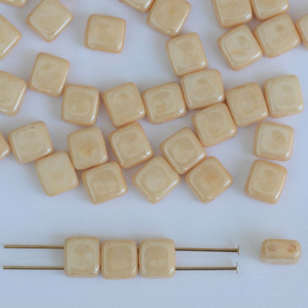 square 2 hole 6mm cream chalk champagne 03000 14413 czech tile bead x 25 jewelbeads4