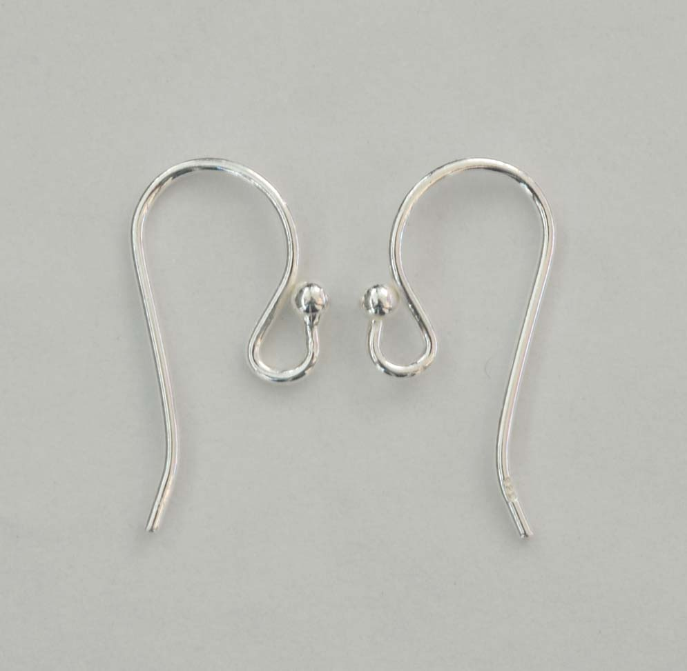 Sterling Silver Earring Ear Hook French Fish Wire Ball