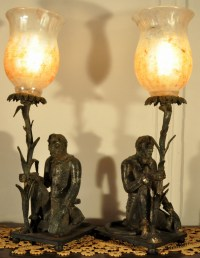 ANTIQUE PAIR MONKEY MONKEYS CAST IRON VICTORIAN LAMPS
