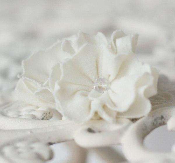 Cream Fabric Flower Stud Earrings using the Ruffled Blossom Tutorial