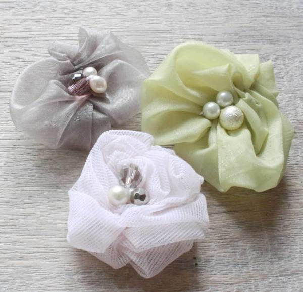 Three Ruched Fabric Flowers for bib necklaces and baby headbands