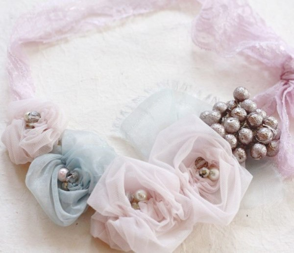 A Sample of Ruched Rosette Fabric Flower Bib Necklace