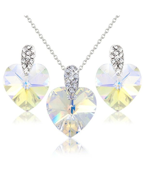 white hearts crystals necklace