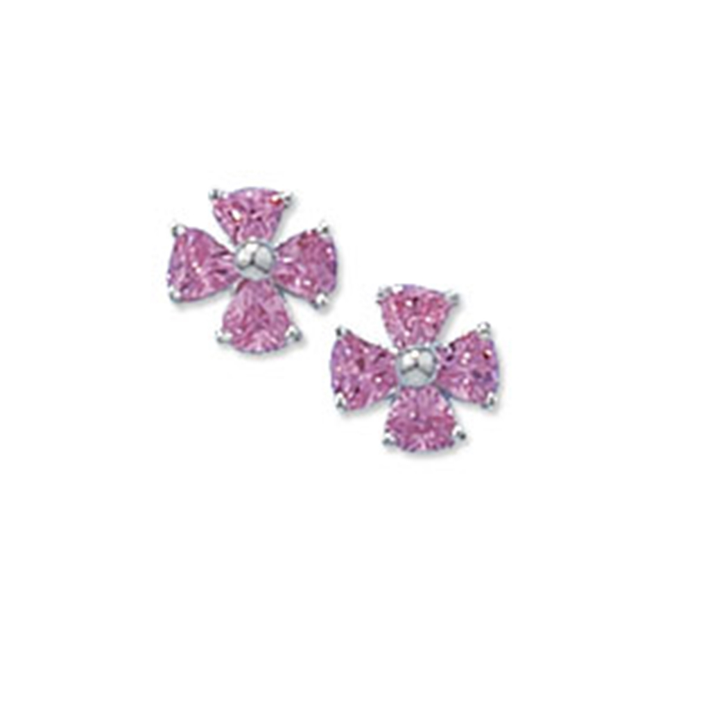 Silver Pink Cubic Zirconia Flower Stud Earrings