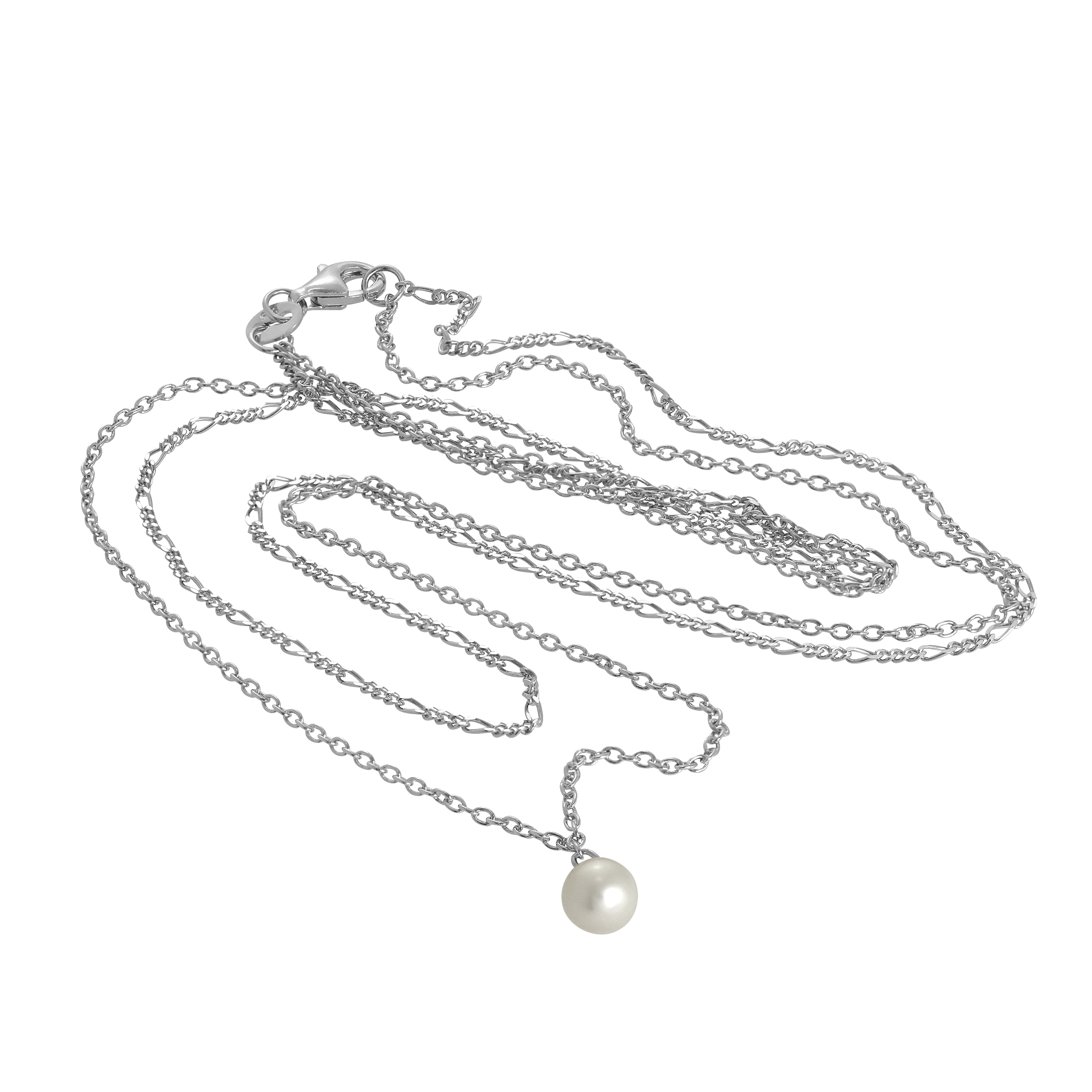 Real 925 Sterling Silver Double Chain Pearl Necklace 16