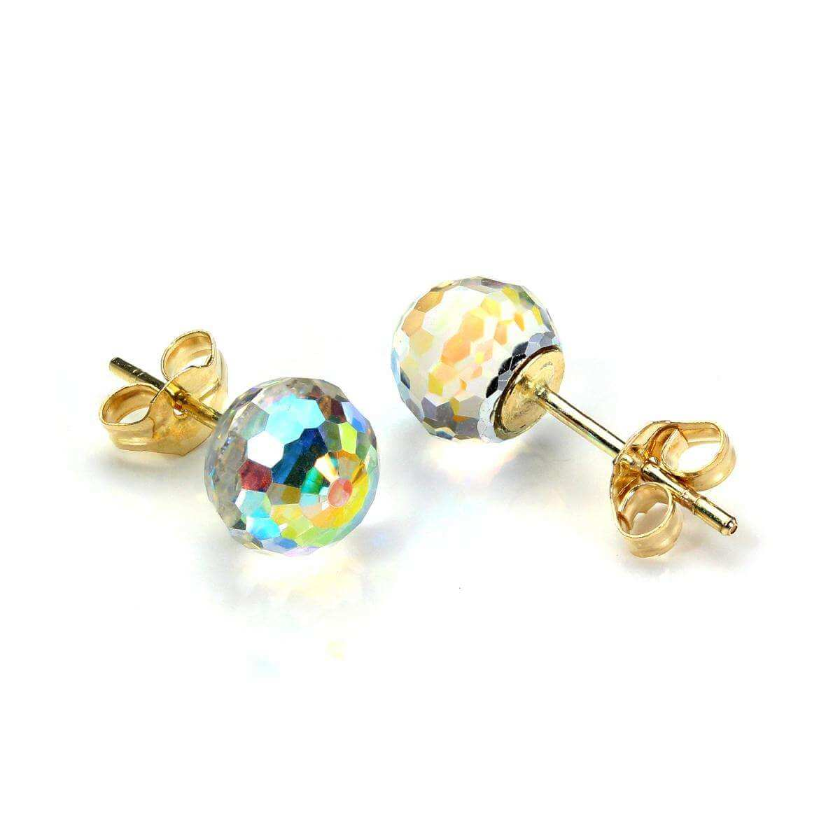 9ct Yellow Gold Small Faceted 6mm Crystal Ball Stud