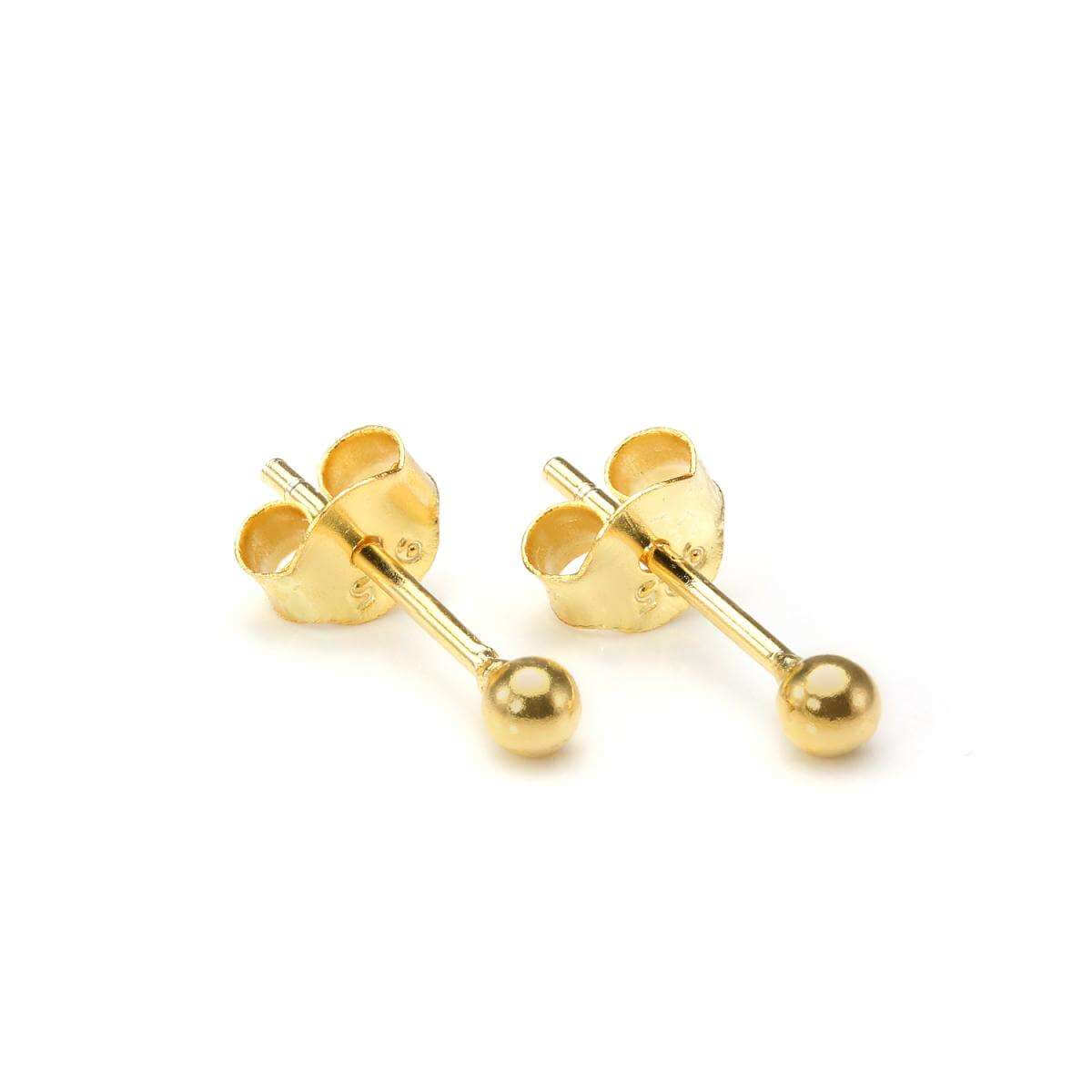 Gold Dipped Small 2mm Sterling Silver Ball Stud Earrings
