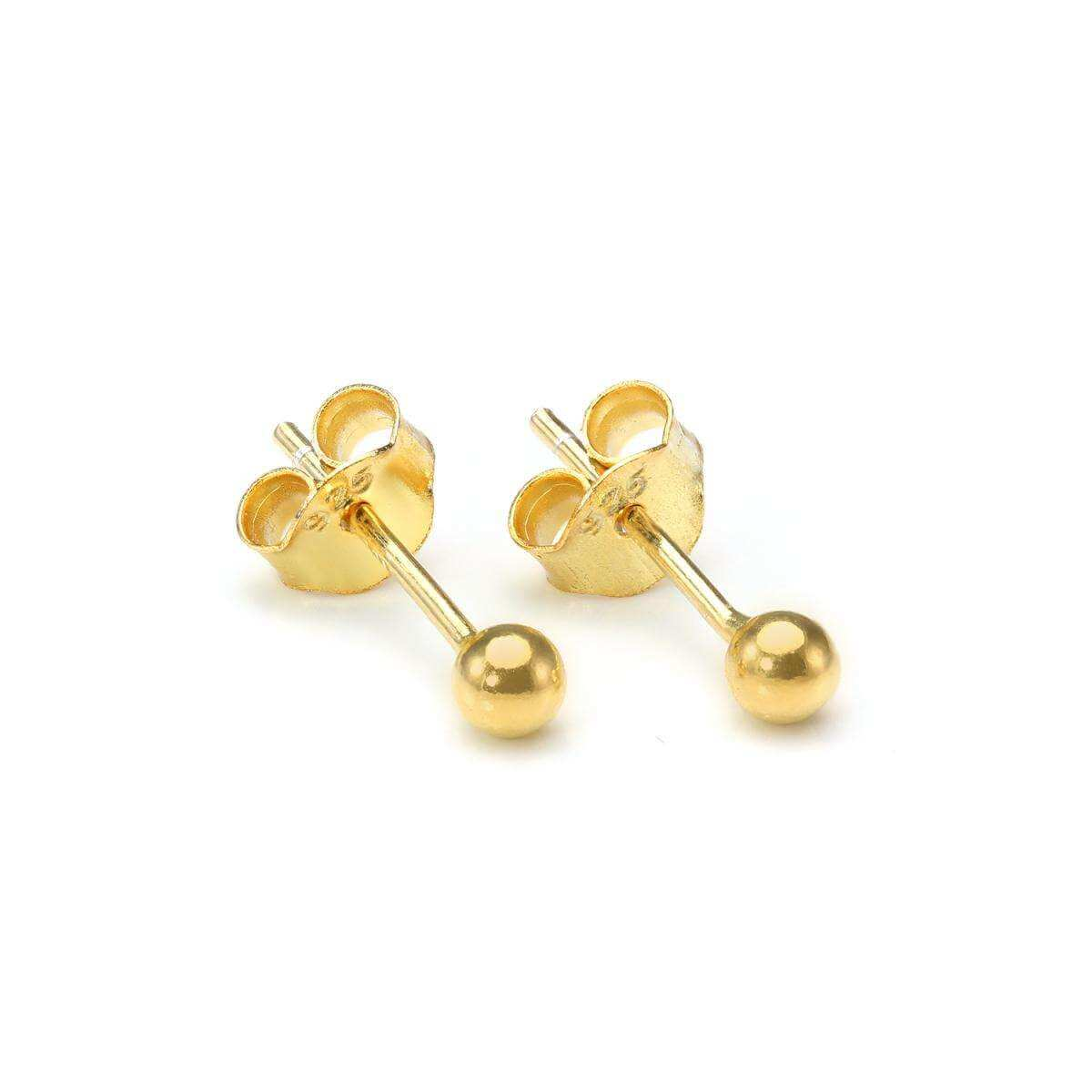 Gold Dipped Small 3mm Sterling Silver Ball Stud Earrings