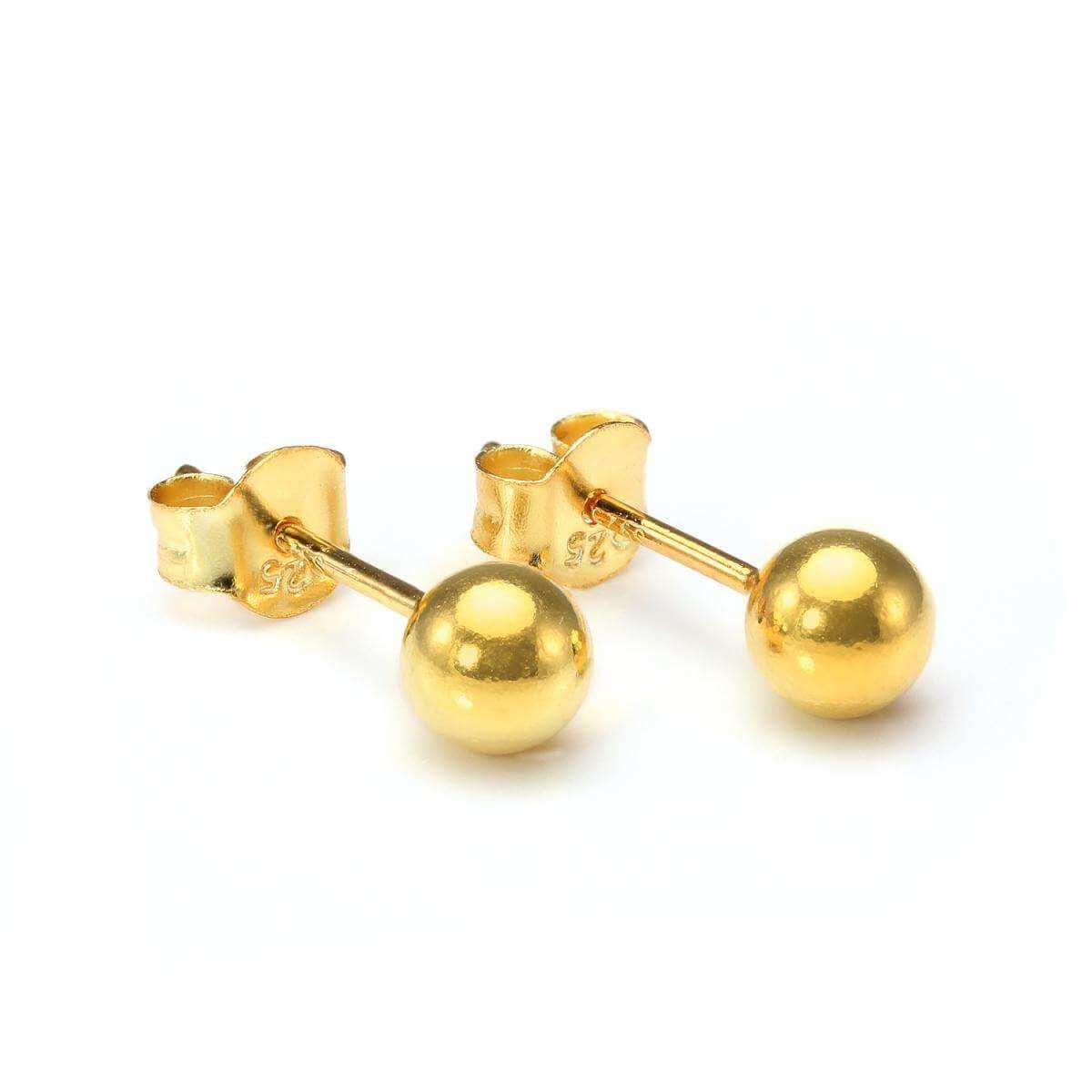 Gold Dipped Small 5mm Sterling Silver Ball Stud Earrings