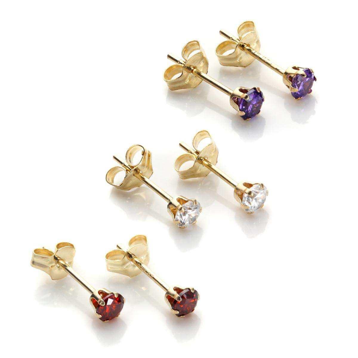 9ct Gold 3mm Crystal Stud Earrings Set