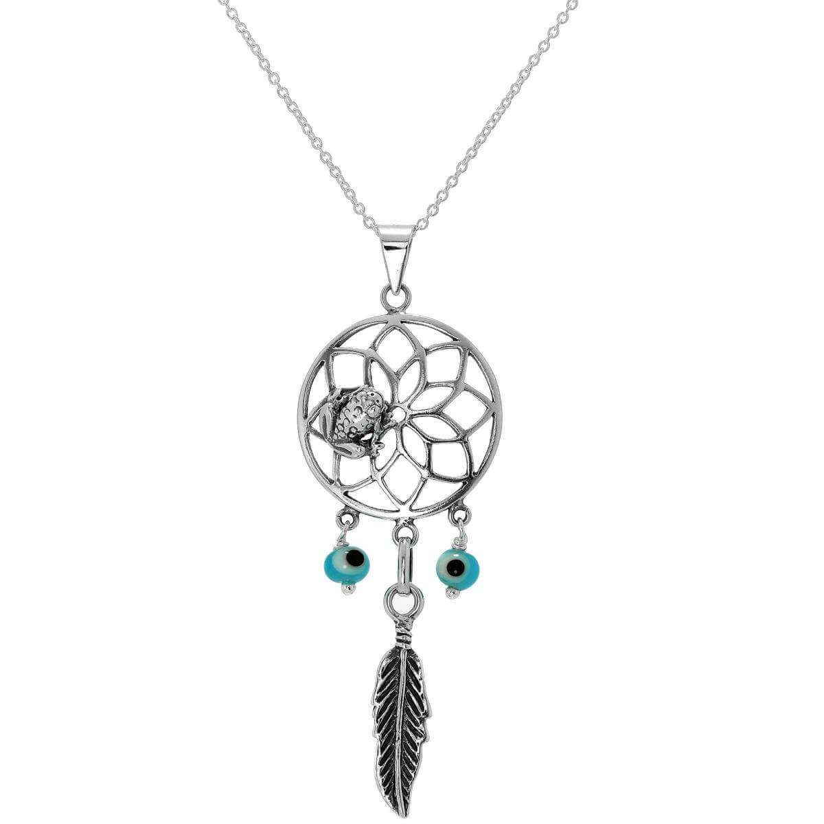 Large Sterling Silver Dreamcatcher Necklace On Chain