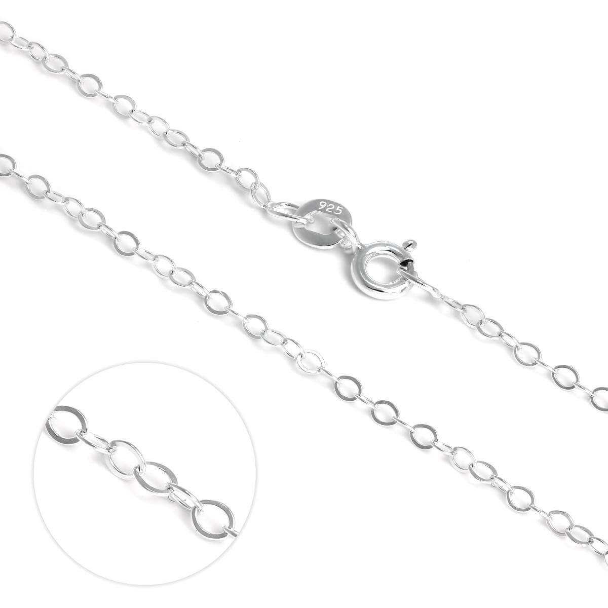 Light Sterling Silver Flat Cable Chain Necklace 16
