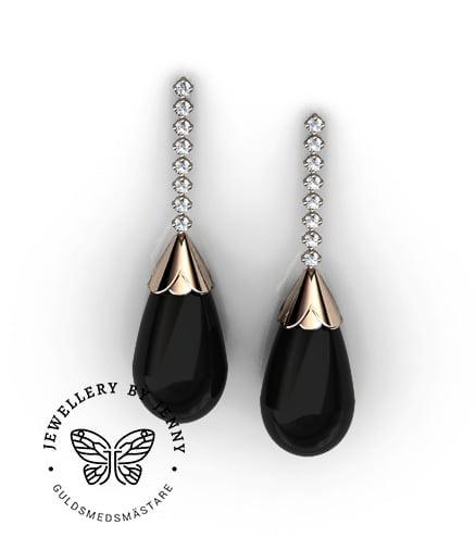 Örhängen med svart onyx och diamanter