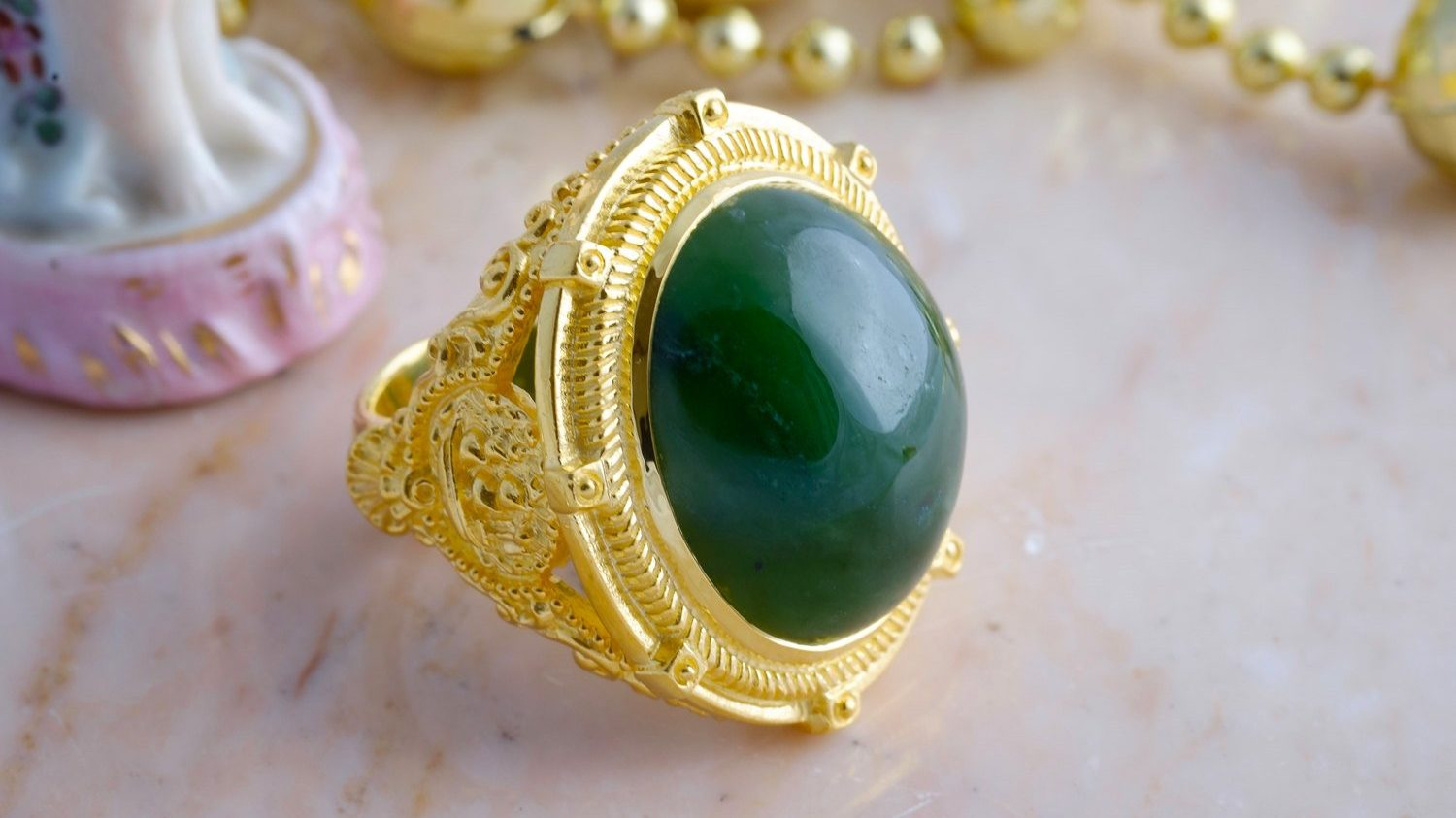 Canada Jade Ring  Ship Shoulders  Gold Plated Sterling
