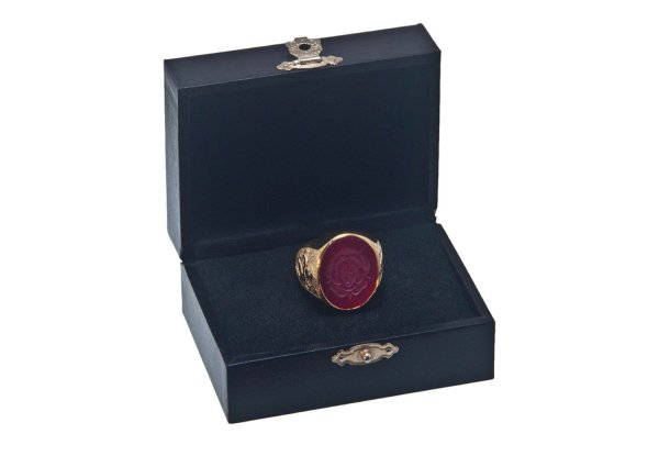 Rosicrucian Ring Special Red Agate Hand Engraved Gold