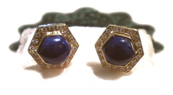 Earrings Clips Lapis+Diamonds