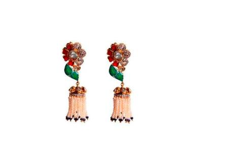 Dillano Chandelier Earring ,material used- polki, pearls, diamonds and rubies price-3,25000