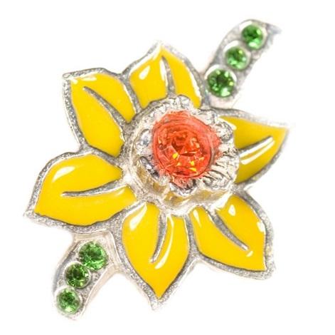 Daffodil Lapel pin with Swarovski crystal elements