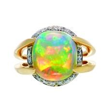 5.19 ct. Gem Australian Crystal Opal ring by Jeffrey Bilgore
