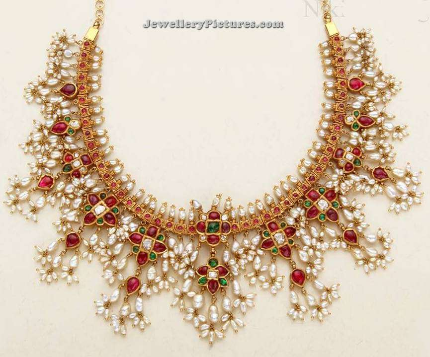 Pearl Necklace Designs in Gold  Jewellery Designs