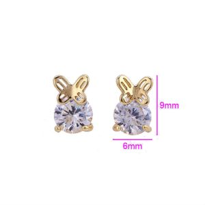14K Gold Plated Copper Cubic Zirconia Stud Earrings with Butterfly