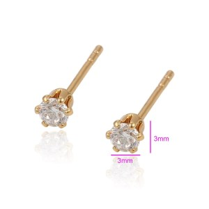 3mm | 18K Gold Plated Copper Round Cubic Zirconia Stud Earrings