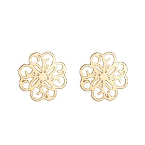 18K Gold Coloured Copper Lucky Four Leaf Clover Stud Earrings