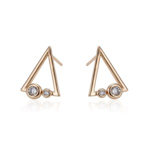 18K Gold Coloured Copper Cubic Zirconia Triangle Stud Earrings