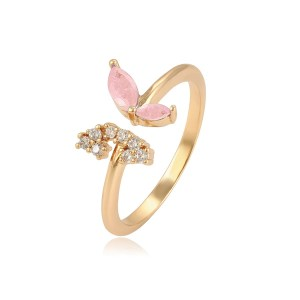 18K Gold Coloured Copper Butterfly Ring with CZ