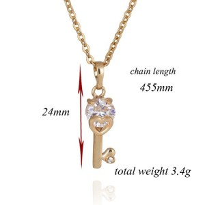 18K Gold Plated Key Cubic Zirconia Necklace