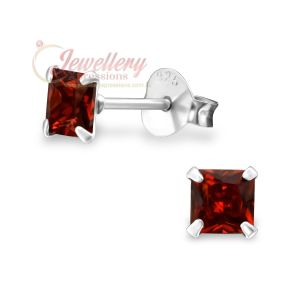 4MM | 925 Sterling Silver Birthstone Stud Earrings with Square CZ