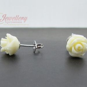925 Sterling Silver White Rose Stud Earrings