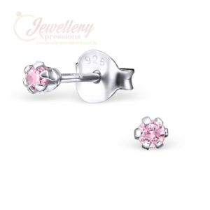 2mm | Round 925 Sterling Silver Stud Earrings with Cubic Zirconia