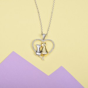925 Sterling Silver Heart Cat Necklace with CZ