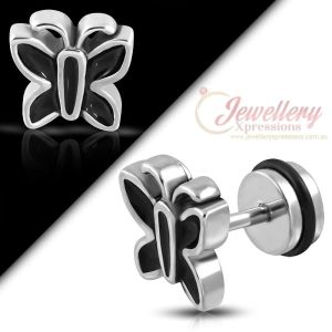 G-1.0mm | One Stainless Steel 2-tone Butterfly Faux Fake Ear Plug