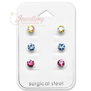 5MM | 316L Surgical Grade Stainless Steel Round CZ Stud Earrings Set (3 Pairs)