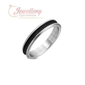 4mm | Stainless Steel 2-tone Checker/ Grid Concave Wedding Band Ring