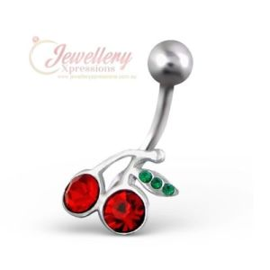 G-1.6mm | 316L Surgical Grade Stainless Steel Cherry Navel Belly Bar Ring