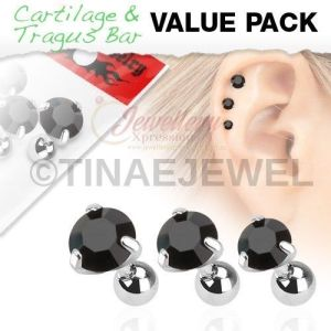 G-1.2mm 3 Pcs Value Pack of Assorted 316L Tragus Bar with Black Round Gem Top