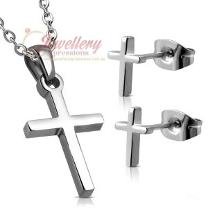 Stainless Steel Latin Cross Charm Pendant & Pair Of Stud Earrings (No Chain)