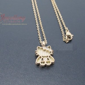 Rose Gold Stainless Steel Hello Kitty Necklace W/ CZ