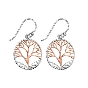 Sterling silver two tone tree of life earrings