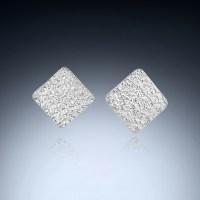Diamond Shaped Post Earrings in Diamond
