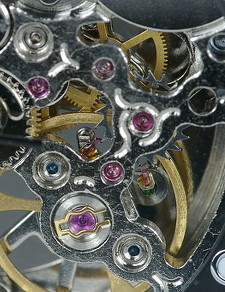 Watch with jewel bearings