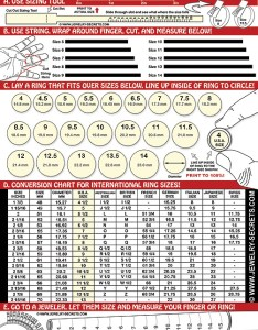 Finger ring sizer chart also free printable size  jewelry secrets rh