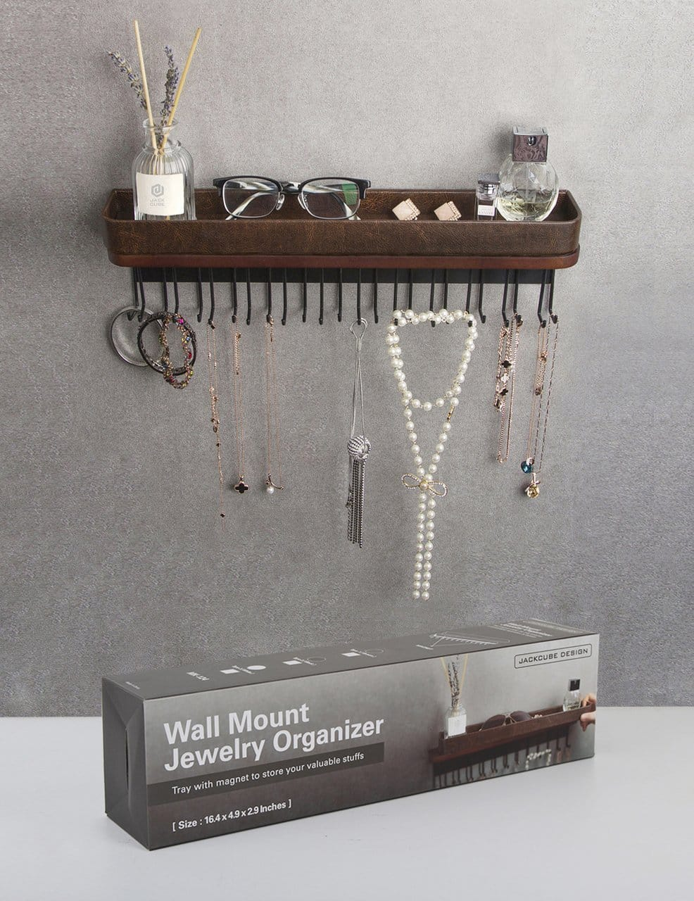 jack cube hanging jewelry organizer necklace hanger bracelet holder wall mount necklace organizer with 25 hooks brown 16 38 x 4 88 x 2 93 inches