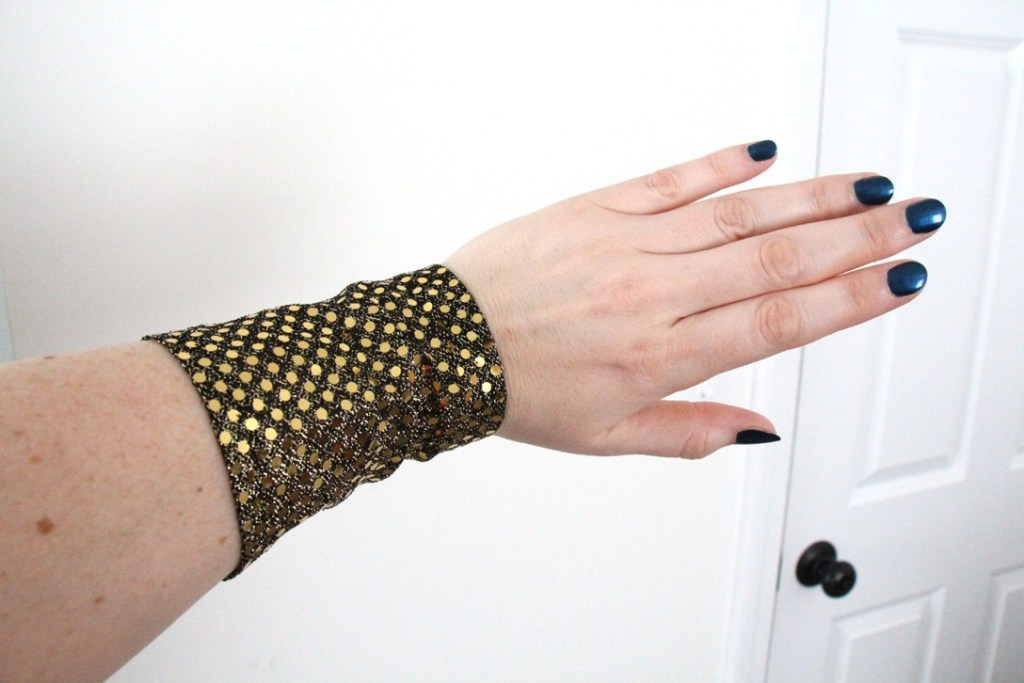 The back of my black and gold sequined bracelet.
